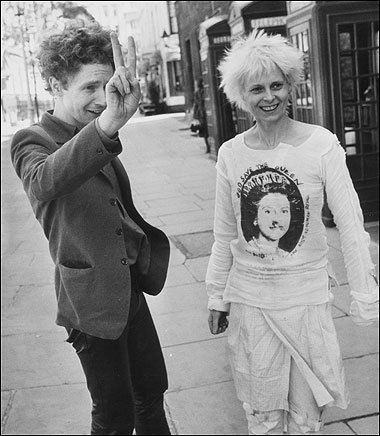 McLaren And Westwood In 1977 Sports A God Save The Queen T Shirt Bondage Trousers
